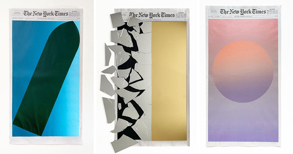 Gradients and Everyday Objects Reinterpret the Day's Events by Concealing the Cover of The New York Times